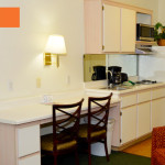 desk in suite - Siegel Select Flamingo Rd Las Vegas affordable extended stay hotel suites & apartment rentals