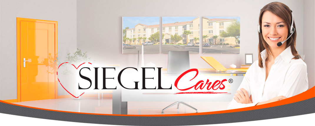 Siegel Cares banner - Siegel Select low cost extended stay hotel rooms & apartment suites